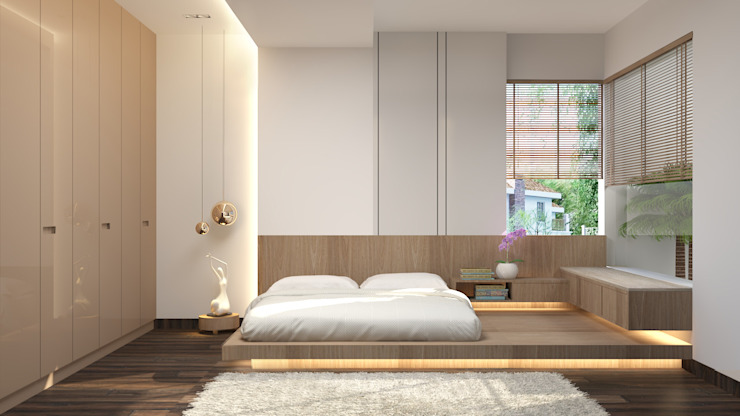 floor bed in the bedroom توسط Rhythm And Emphasis Design Studio