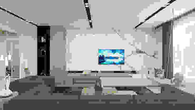 tv unit in living room توسط Rhythm And Emphasis Design Studio