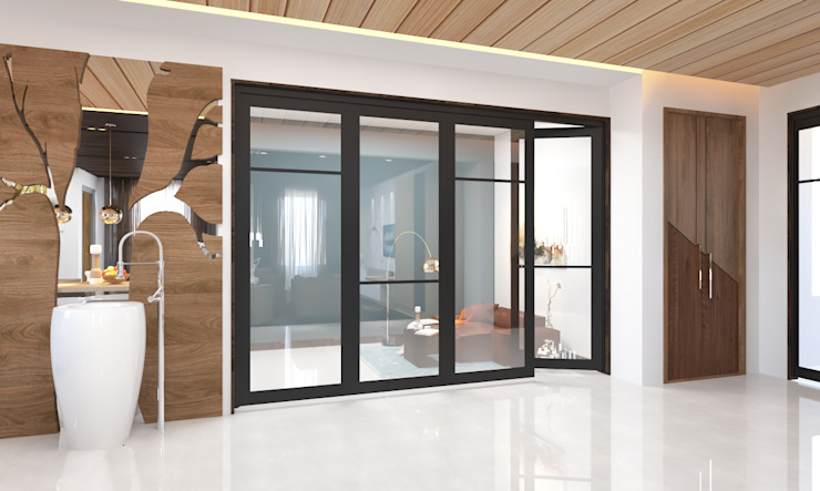 glass panelled siling door توسط Rhythm And Emphasis Design Studio
