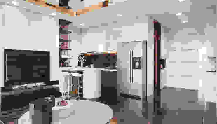"""THIẾT KẾ NỘI THẤT MONOCHROME CĂN HỘ LANDMARK 81 - Tiêu chí """"Less is more"""" trong thiết kế nội thất Nhà bếp phong cách hiện đại bởi ICON INTERIOR Hiện đại"""