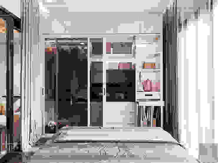 THIẾT KẾ NỘI THẤT MONOCHROME CĂN HỘ LANDMARK 81 – Tiêu chí <q>Less is more</q> trong thiết kế nội thất Phòng ngủ phong cách hiện đại bởi ICON INTERIOR Hiện đại