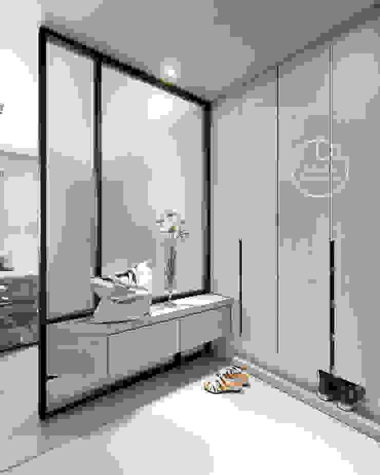 玄關/沉靜淺灰元素 自然人文宅邸 - 惠宇清朗 現代風玄關、走廊與階梯 根據 木博士團隊/動念室內設計制作 現代風 複合木地板 Transparent