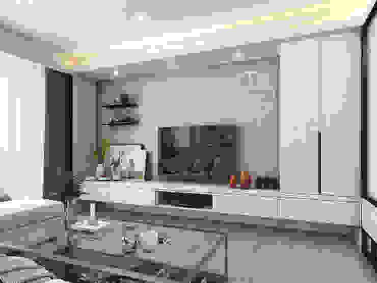 客廳/沉靜淺灰元素 自然人文宅邸 - 惠宇清朗 木博士團隊/動念室內設計制作 现代客厅設計點子、靈感 & 圖片 複合木地板 White