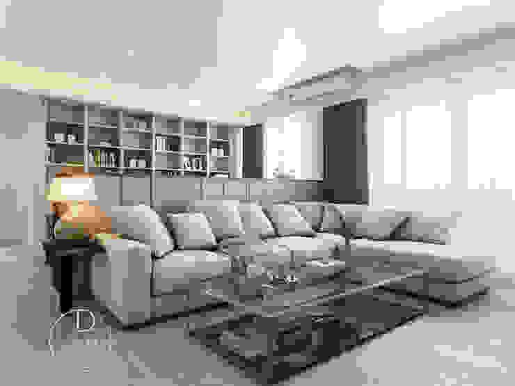 客廳/書房/沉靜淺灰元素 自然人文宅邸 - 惠宇清朗 木博士團隊/動念室內設計制作 现代客厅設計點子、靈感 & 圖片 複合木地板 White