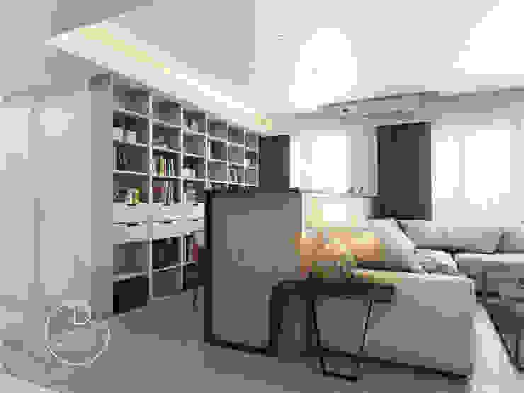 客廳/書房/沉靜淺灰元素 自然人文宅邸 - 惠宇清朗 根據 木博士團隊/動念室內設計制作 現代風 複合木地板 Transparent