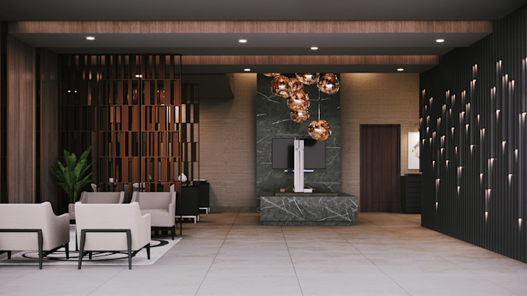 SHOWROOM TORRE AMALFI Eclectic style conference centres by CUARTO BLANCO Eclectic