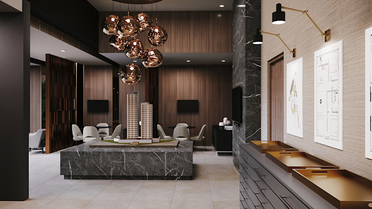 SHOWROOM TORRE AMALFI Eclectic style commercial spaces by CUARTO BLANCO Eclectic