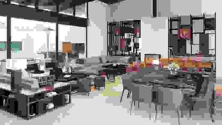 CASA RIO DANUBIO Eclectic style living room by CUARTO BLANCO Eclectic