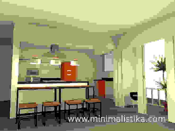 Vista desde la sala hacia la isla de cocina Cocinas de estilo industrial de Minimalistika.com Industrial Aglomerado