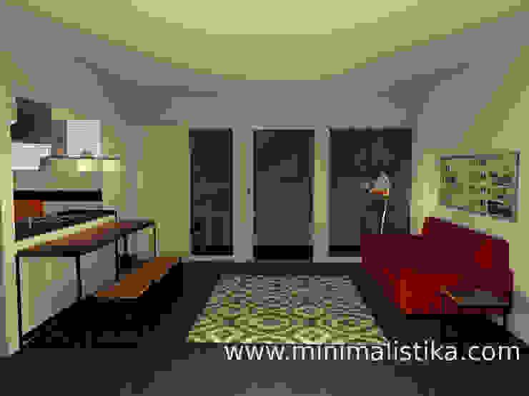 Sala integrada Salas de estilo industrial de Minimalistika.com Industrial Aglomerado