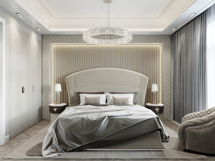 Квартира 59 метров в ЖК Привилегия: Спальни в . Автор – EJ Studio, Модерн