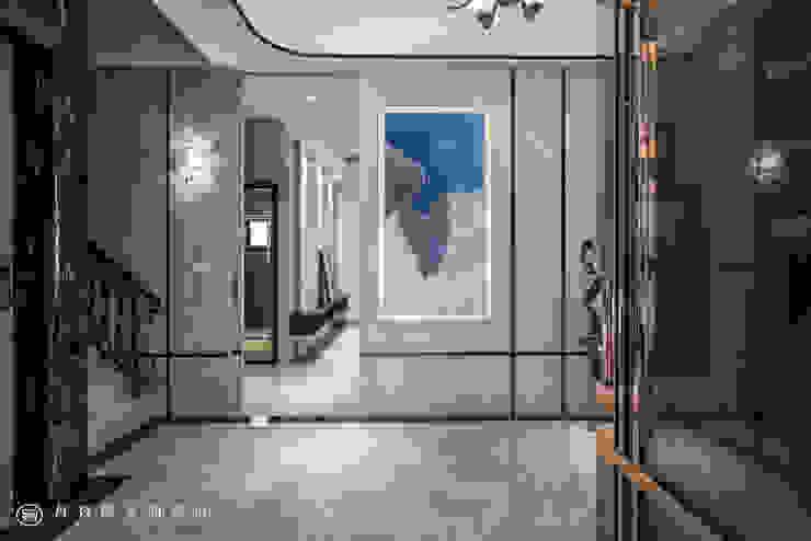 住盛不動產/天鑽V-金擘.隱斂 現代風玄關、走廊與階梯 根據 SING萬寶隆空間設計 現代風