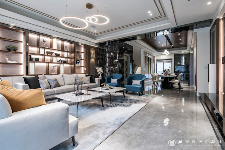 住盛不動產/天鑽V-金擘.隱斂 现代客厅設計點子、靈感 & 圖片 根據 SING萬寶隆空間設計 現代風