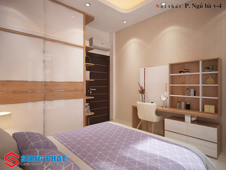 Mẫu Nhà 1 Trệt 3 Lầu Sân Thượng Trên Diện Tích 40m2 Giá 1,16 Tỷ Phòng ngủ phong cách châu Á bởi Công ty Thiết Kế Xây Dựng Song Phát Châu Á