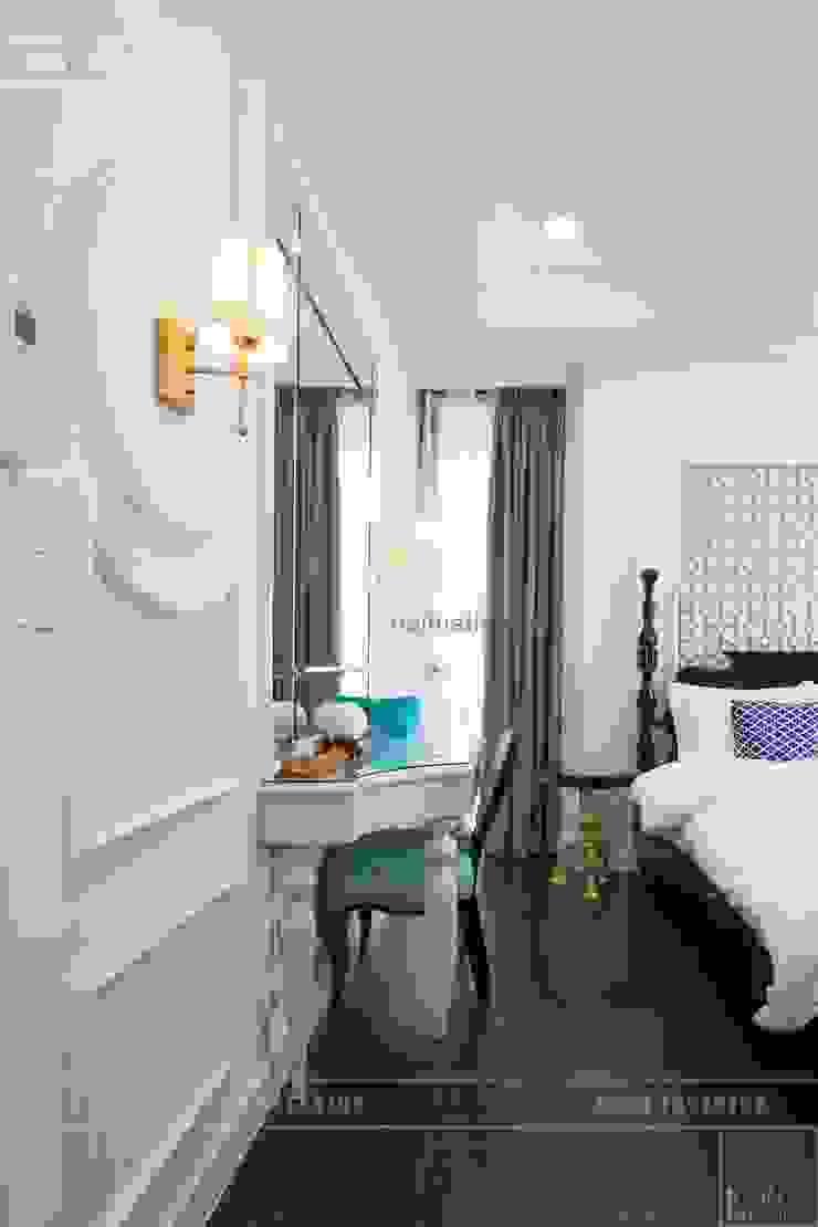 Toàn cảnh thực tế căn hộ THE TRESOR trong thiết kế nội thất Indochine Phòng ngủ phong cách châu Á bởi ICON INTERIOR Châu Á