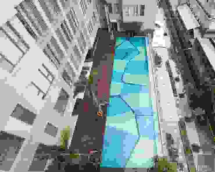 Toàn cảnh thực tế căn hộ THE TRESOR trong thiết kế nội thất Indochine Hồ bơi phong cách châu Á bởi ICON INTERIOR Châu Á