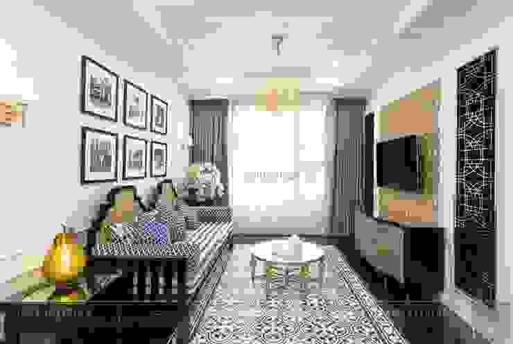 Toàn cảnh thực tế căn hộ THE TRESOR trong thiết kế nội thất Indochine Phòng khách phong cách châu Á bởi ICON INTERIOR Châu Á