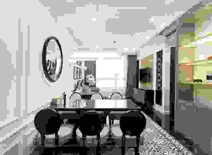 Toàn cảnh thực tế căn hộ THE TRESOR trong thiết kế nội thất Indochine Phòng ăn phong cách châu Á bởi ICON INTERIOR Châu Á