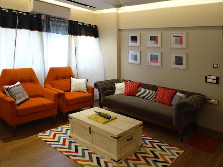 Deshpande Residence Eclectic style living room by Nuvo Designs Eclectic