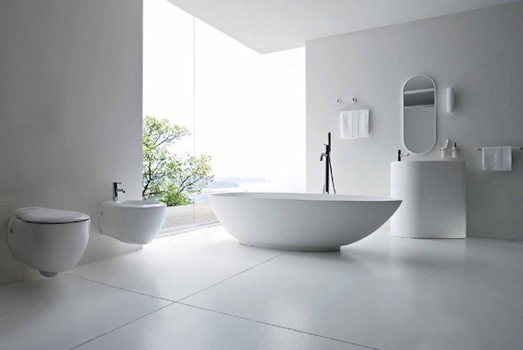 Minimalist White bathroom Minimalist style bathroom by Subramanian- Homify Minimalist Ceramic