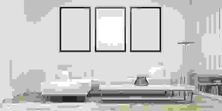 Minimalist White Living room by Subramanian- Homify Minimalist Slate