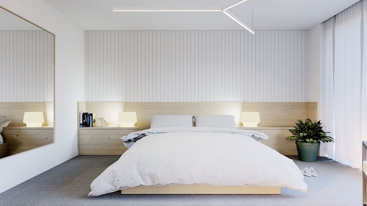 Minimalist White Bedroom Minimalist bedroom by Subramanian- Homify Minimalist MDF