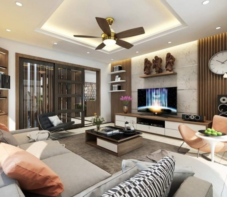 Phòng khách với phong cách nội thất đương đại Phòng khách phong cách châu Á bởi Công ty TNHH TK XD Song Phát Châu Á Đồng / Đồng / Đồng thau