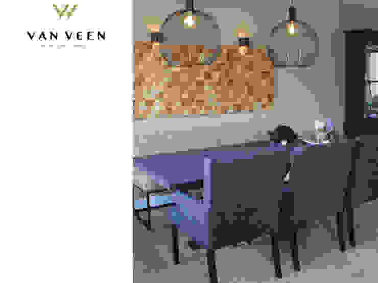 EETHOEK: modern  door VAN VEEN INTERIOR DESIGN, Modern Leer Grijs