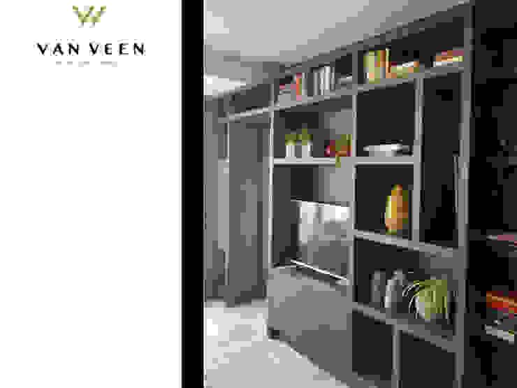 MAATWERK TV WANDKAST Moderne woonkamers van VAN VEEN INTERIOR DESIGN Modern Hout Hout