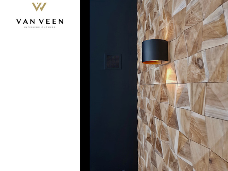 WANDSPOT Moderne woonkamers van VAN VEEN INTERIOR DESIGN Modern Hout Hout