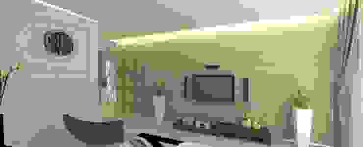 簡約的木紋電視牆 根據 圓方空間設計