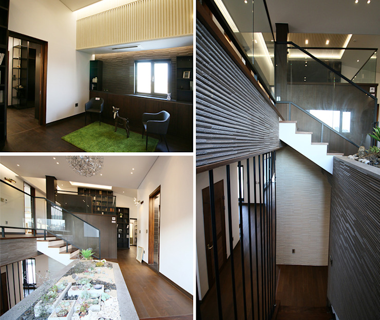 2F - 가족룸과 개인 공간 모던스타일 복도, 현관 & 계단 by 더존하우징 모던