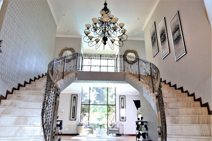 Main Entrance Overview Motama Interiors and Exteriors Modern corridor, hallway & stairs