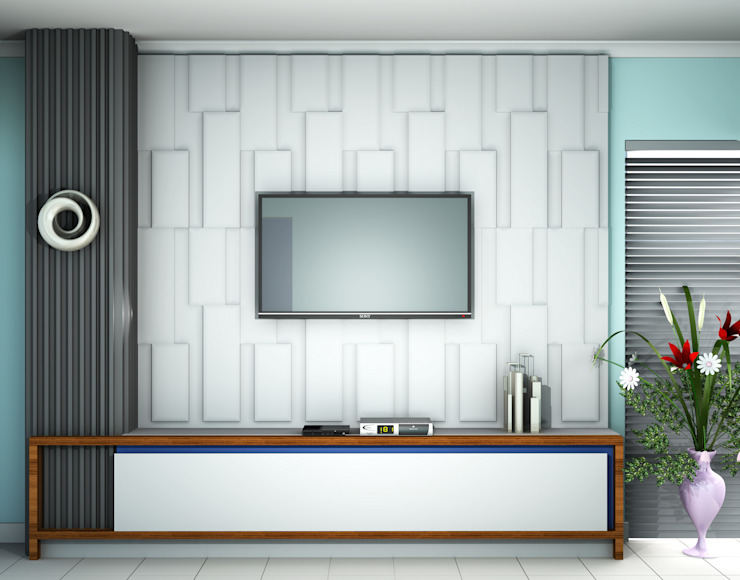 TV Unit:  Living room by Kori Interiors