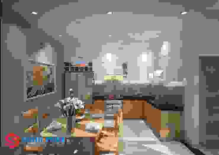 Mấu thiết kế bếp chữ L đẹp phù hợp với không gian sống hiện đại Phòng ăn phong cách hiện đại bởi Công ty TNHH TK XD Song Phát Hiện đại Đá hoa