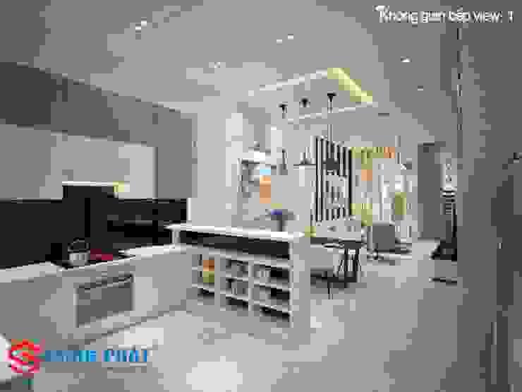 Mấu thiết kế bếp chữ L đẹp phù hợp với không gian sống hiện đại bởi Công ty TNHH TK XD Song Phát Hiện đại Đồng / Đồng / Đồng thau