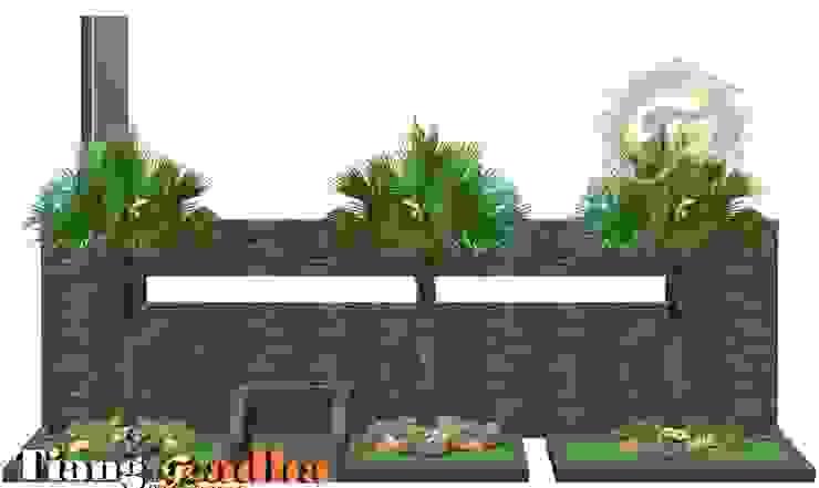 Perpaduan Batu Alam Pagar Depan dan Taman Tukang Taman Surabaya - Tianggadha-art Halaman depan Batu Green
