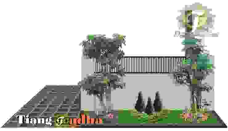 Desain Taman Surabaya Barat Pakuwon indah Tukang Taman Surabaya - Tianggadha-art Halaman depan Batu Green
