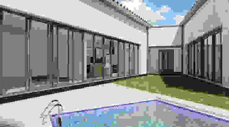 Vivienda entre medianerías en Santa Cruz de Mudela (Ciudad Real) Jardines de estilo moderno de A3D INFOGRAFIA Moderno
