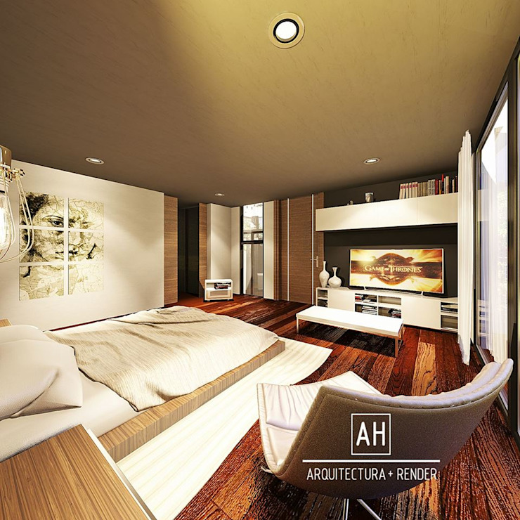 ah arquitectura + render Modern style bedroom