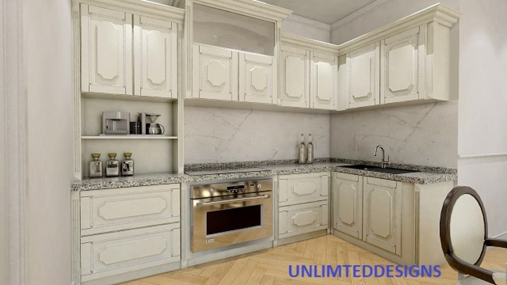 RUSTIC KITCHEN WITH WHITE LAMINATES:  Kitchen units by unlimteddesigns/bansal designs ,
