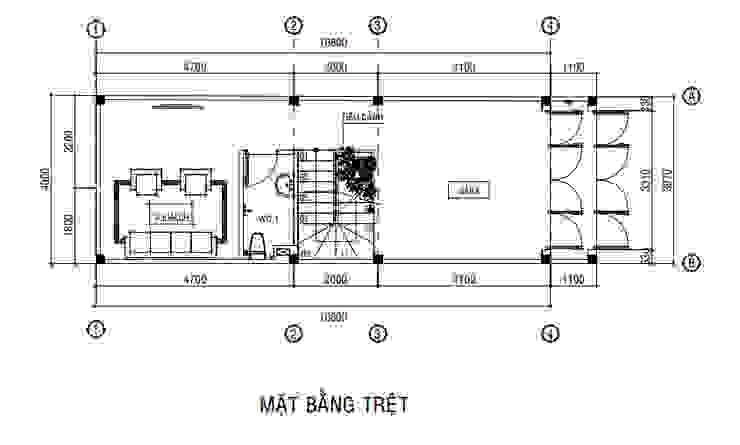 Mẫu Thiết Kế Nhà Phố 1 Trệt 2 Lầu Sân Thượng Với Mặt Tiền 4m bởi Công ty Thiết Kế Xây Dựng Song Phát Châu Á