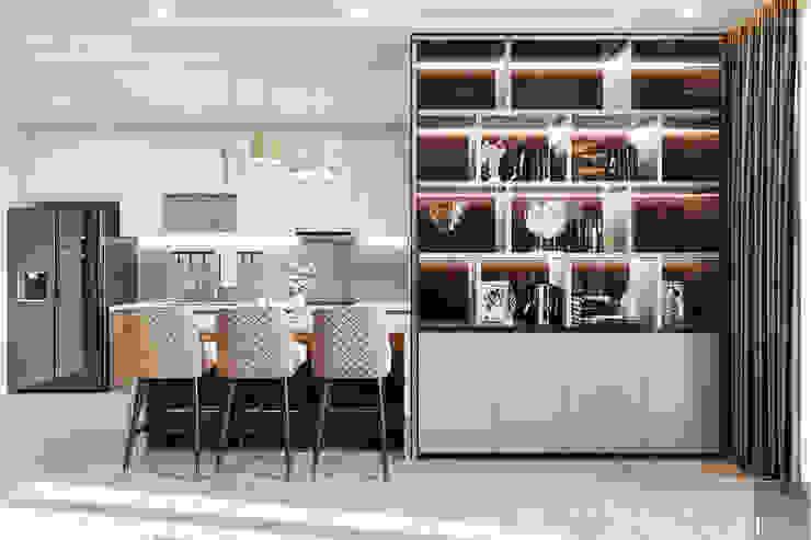 THIẾT KẾ CĂN HỘ VINHOMES GOLDEN RIVER – Cảm hứng Xanh Olive Phòng ăn phong cách hiện đại bởi ICON INTERIOR Hiện đại