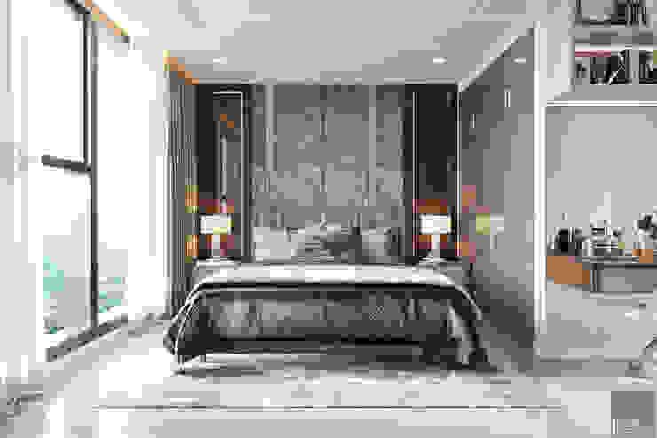 THIẾT KẾ CĂN HỘ VINHOMES GOLDEN RIVER – Cảm hứng Xanh Olive Phòng ngủ phong cách hiện đại bởi ICON INTERIOR Hiện đại