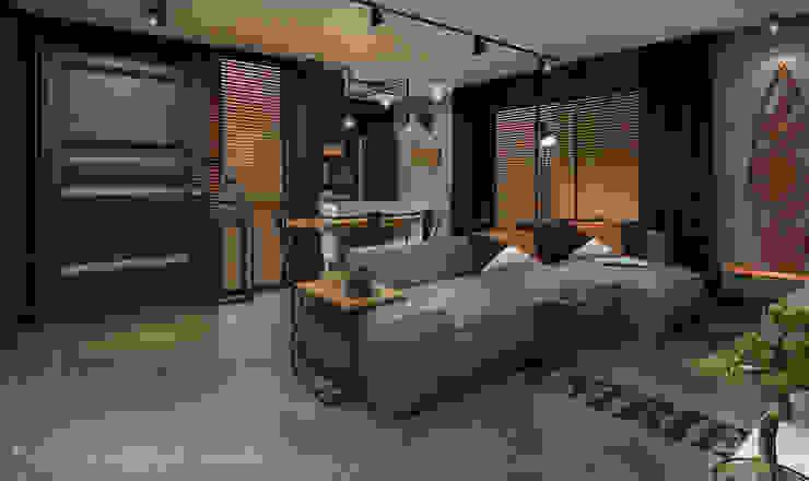 Rodrigo Westerich - Design de Interiores Industrial style living room Solid Wood Grey