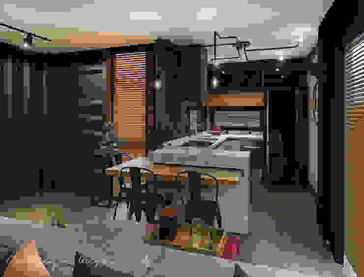 Projeto de interiores - Residencial Modular Contêiner Rodrigo Westerich - Design de Interiores Armários e bancadas de cozinha Concreto Preto