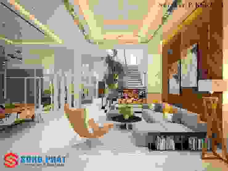 Salas de estilo asiático de Công ty TNHH TK XD Song Phát Asiático Cobre/Bronce/Latón