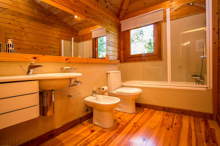 RUSTICASA Rustic style bathroom Solid Wood Wood effect