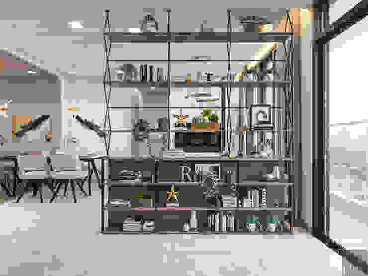 THIẾT KẾ NỘI THẤT CĂN HỘ VINHOMES GOLDEN RIVER - Xu hướng thiết kế vách ngăn Nhà bếp phong cách hiện đại bởi ICON INTERIOR Hiện đại