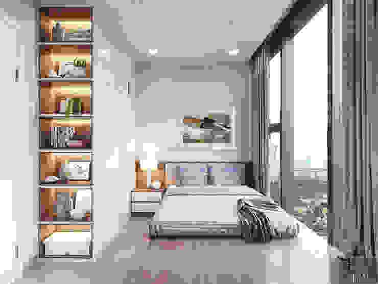THIẾT KẾ NỘI THẤT CĂN HỘ VINHOMES GOLDEN RIVER – Xu hướng thiết kế vách ngăn Phòng ngủ phong cách hiện đại bởi ICON INTERIOR Hiện đại